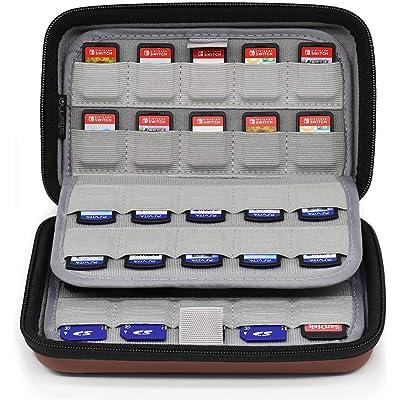 Sisma Estuche de juegos para 80 cartuchos Nintendo Switch PS Vita o Tarjetas SD - Funda cartuchos juego - color marrón