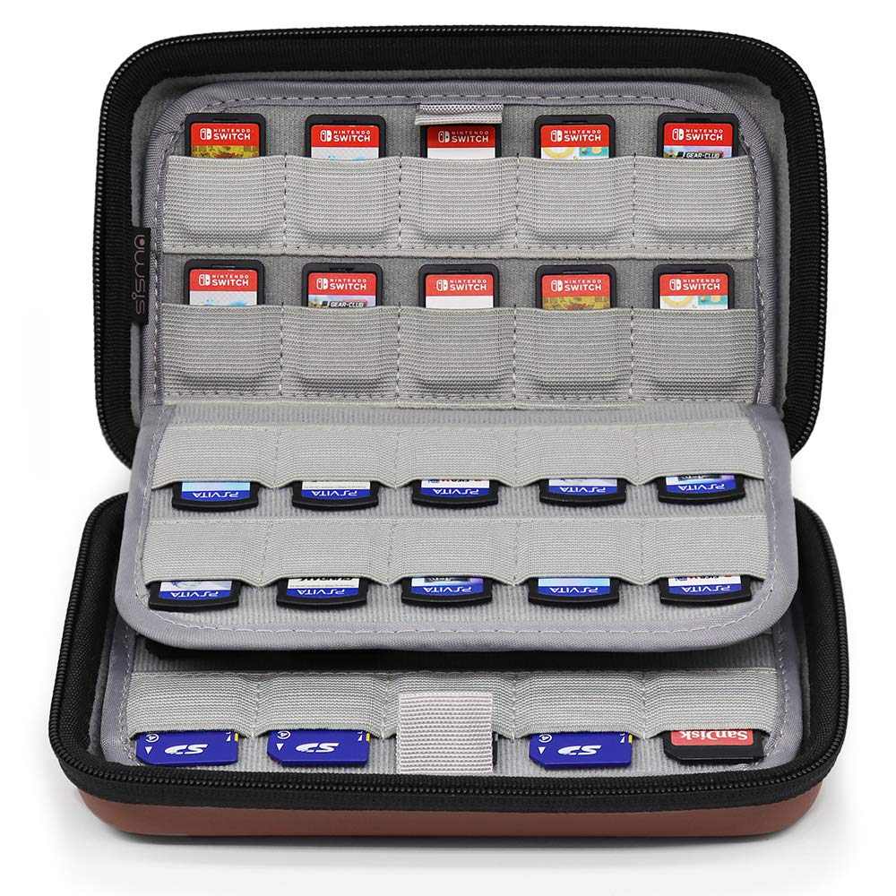 Sisma 80 Game Cartridge Holders Storage Case for Organizing Nintendo Switch Sony Ps Vita Games and SD Memory Cards - Brown SVG190401GC
