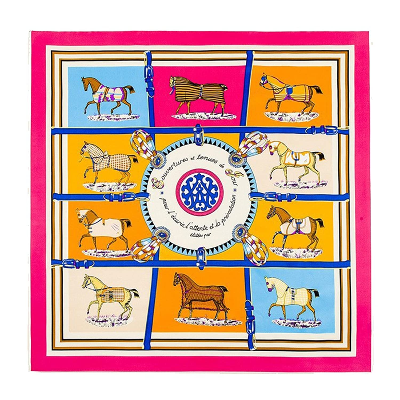 Fashion Euro Brand French design Ten Horse Pattern Silk Scarves (Pink)