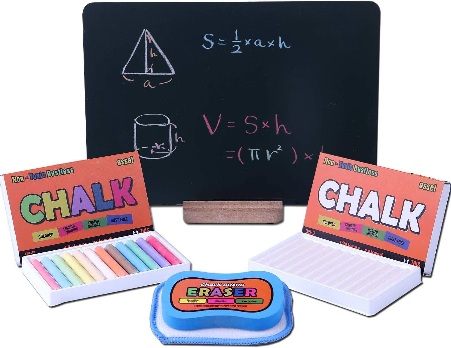 Essel Chalkboard Sign (13in x 9.2in) With Dustless Chalk(White 12 ct/Colored 12ct) and Microfiber Eraser (Washable & Reusable)