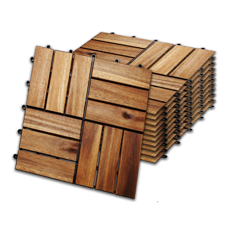 wolketon 30 x 30 cm Akazien-Holz Holzfliesen 22er Set f/ür 2 m/² Garten-Fliese Bodenbelag mit Drainage Klick-Fliesen f/ür Garten Terrasse Balkon