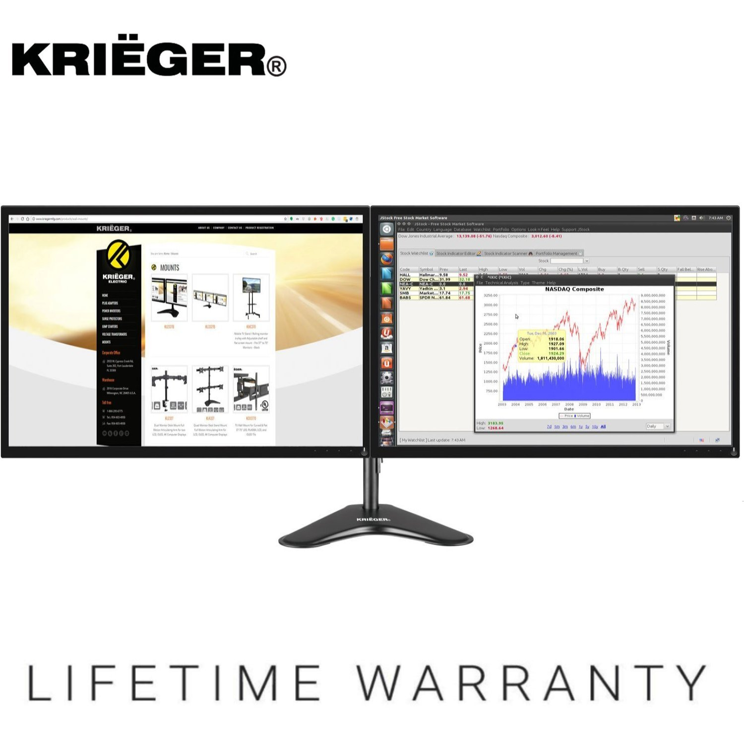 """KRIËGER KL2327N • Dual Monitor Mount Full Motion Articulating Arm Monitor Stand • Universal Fit for Double Computer Screens • 13"""" - 27"""" Screens Vesa Mount"""