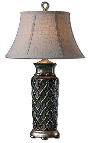 Uttermost 27455 Valenza Lamp, Heavily Burnished Wash Over A Blue Glaze, Antiqued Silver