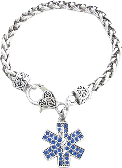 Sports Accessory Store Paramedic EMS EMT Blue Crystal Fashion Lobster Claw Bracelet
