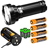 FENIX TK75 5100 Lumen 929 yards beam 2018 Edition CREE LED USB rechargeable Flashlight with Four Fenix rechargeable 18650 Batteries and 4 X EdisonBright CR123A batteries bundle