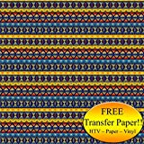 Yellow & Blue Tribal Pattern Printed Heat Transfer Vinyl (Style D - 12 x 24)