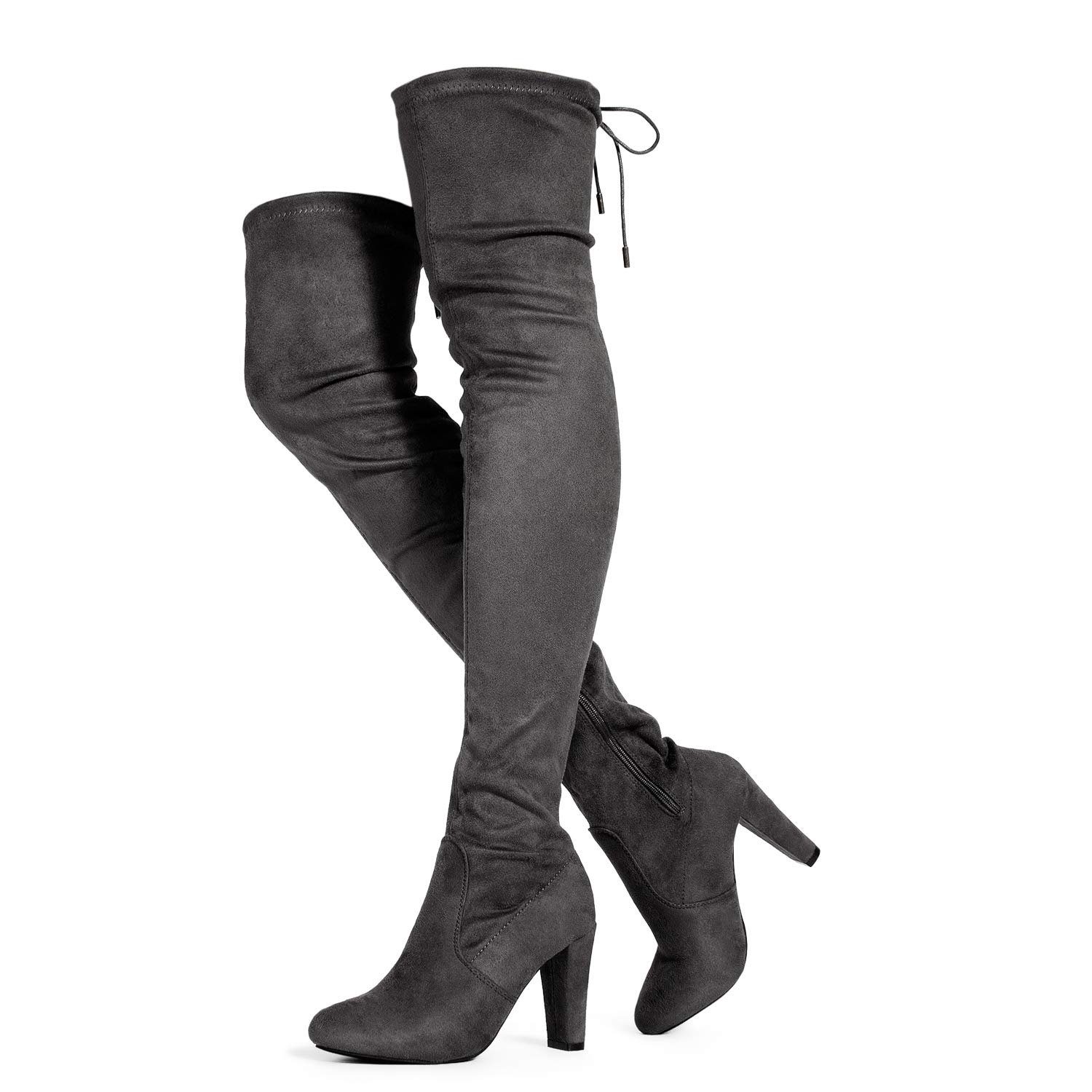 Premium Grey Suede ROF Women's Fashion Comfy Vegan Suede Block Heel Side Zipper Thigh High Over The Knee Boots
