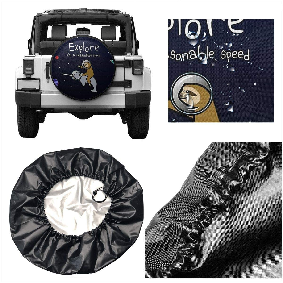 BWBFVPW Spare Tire Cover Sloth Riding Narwhal in Space Universal Waterproof Wheel Cover for RV SUV Trailer Fit 27.5-29.5 inches Tire Diameters