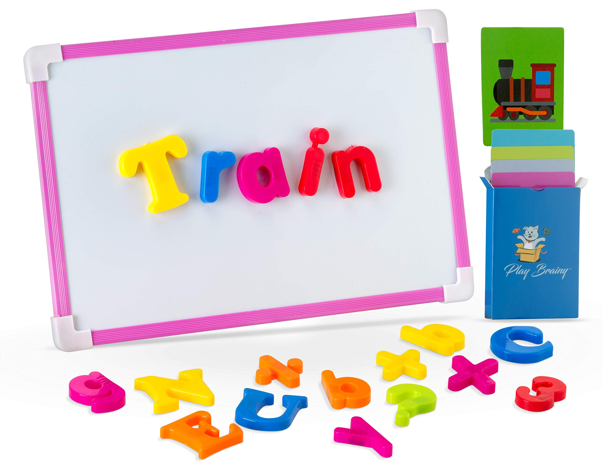 Play Brainy ABC Magnets Set with 30 Fun and Educational Picture Spelling Cards - 78 Piece Magnetic Alphabet and Number Set - Magnetic Board Included - Great for Home or Classroom Use- Bag Included