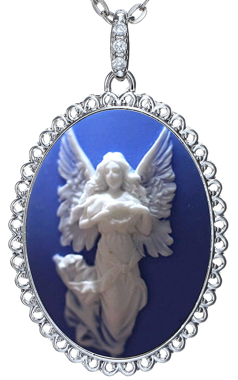 "Guardian Angel Necklace Blue Pendant Silver Custom Fashion Jewelry 18"" 24"" Chain Velvet Pouch for Gift"