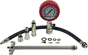 Actron CP7828A Professional Compression Tester Kit with 10mm, 12mm, 14mm, 14mm Long Reach, and 18mm Adapters, Black