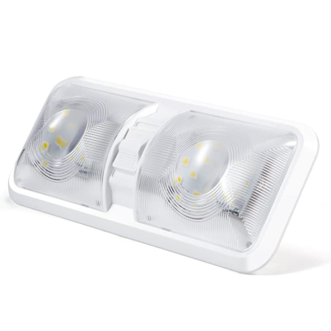 Kohree lámpara LED 12 V Bombilla lámpara de techo para coche luz blanca luz interior para vehículo barco 48 x 5050SMD con interruptor on/off ...
