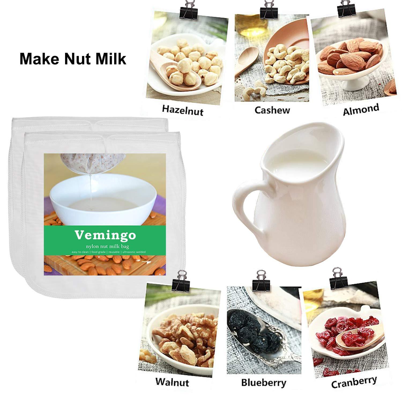 Vemingo - Bolso de leche con forma de tuerca de 30,48 x 30,48 cm, bolsa de colador reutilizable para leche de almendra, leche de cashew, zumo, queso, café, ...