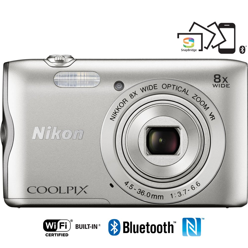 Nikon Coolpix A300 20.1MP 8x Optical Zoom NIKKOR WiFi Silver Digital Camera 26519B - (Certified Refurbished) by Nikon