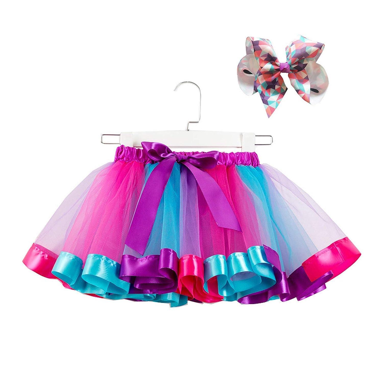 Cicilin Mini Tutu Ballet Ruffle Frilly Petticoat Skirt Serre T/ête Kids Rainbow Tiered Skirt Skirt+Headwear