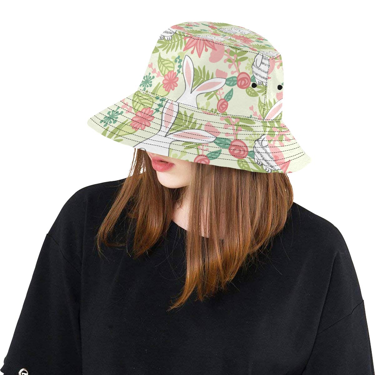 Bunny Cute Child Rabbit with Flowers New Summer Unisex Cotton Fashion Fishing Sun Bucket Hats for Kid Teens Women and Men with Customize Top Packable Fisherman Cap for Outdoor Travel