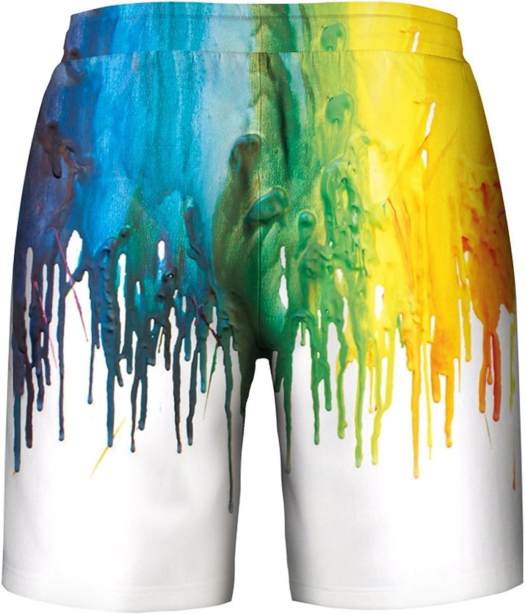 Aieoe Mens Unisex 3D Print Shorts Casual Drawstring Pocket Shorts Pants