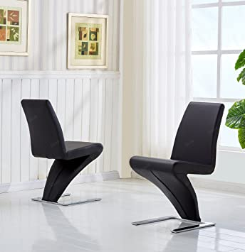 Set Of 2 Designer Z Shaped Dining Room Chairs Steel Chrome Frame Artificial Leather Bouncing Moulded