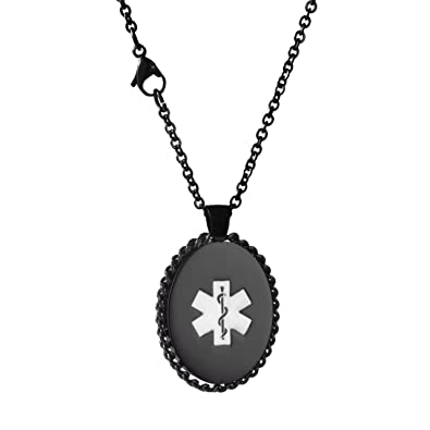 LinnaLove Butterfly Medical ID Necklace charm for Girl & Boy (Free engraving) 47F84i3h