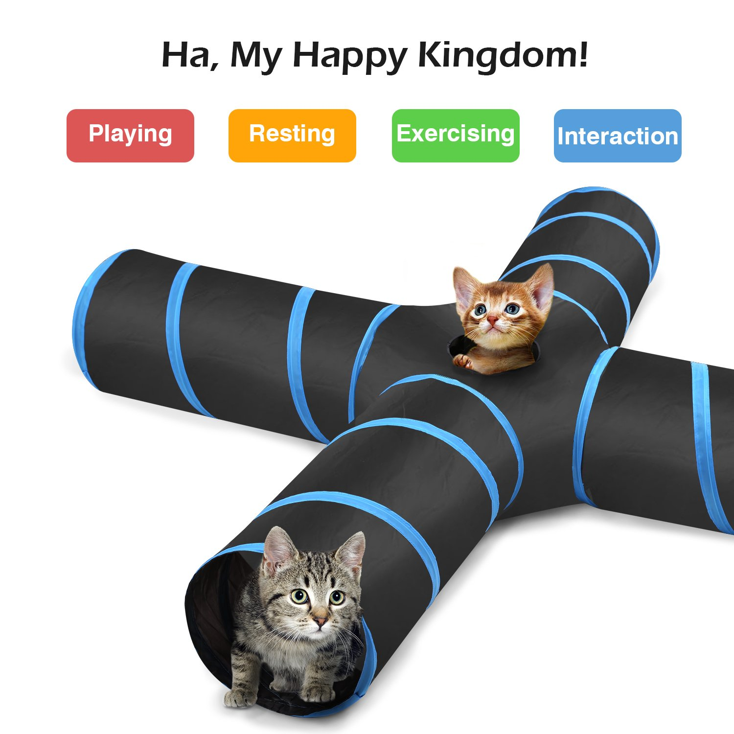 PAWABOO Cat Tunnel, Premium S-Shaped / 3-Way / 4-Way / 5-Way Tunnels Extensible Collapsible Cat Play Tunnel Toy Maze Cat House with Pompon and Bells for Cat ...