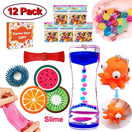 12 Pack Sensory Fidget Stress Relief Hand Toys With Liquid Motion Timer Water Beads5