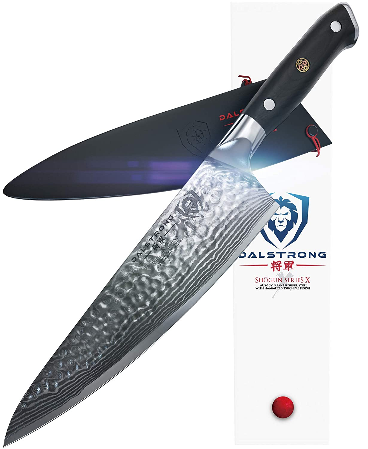 """DALSTRONG Chef's Knife - Shogun Series X Gyuto - Damascus - Japanese AUS-10V - Vacuum Treated - Hammered Finish - 8"""" - w/Guard"""