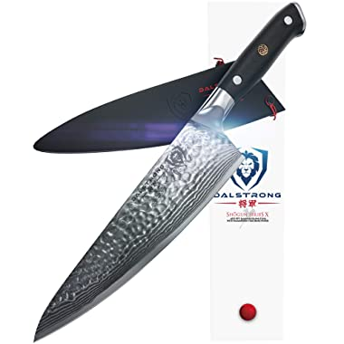 DALSTRONG Chef's Knife - Shogun Series X Gyuto - Japanese AUS-10V - Vacuum Treated - Hammered Finish - 8  - w/Guard