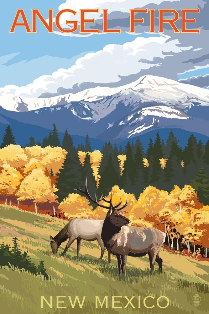 Angel Fire, New Mexico - Elk and Mountains (9x12 Fine Art Print, Home Wall Decor Artwork Poster)
