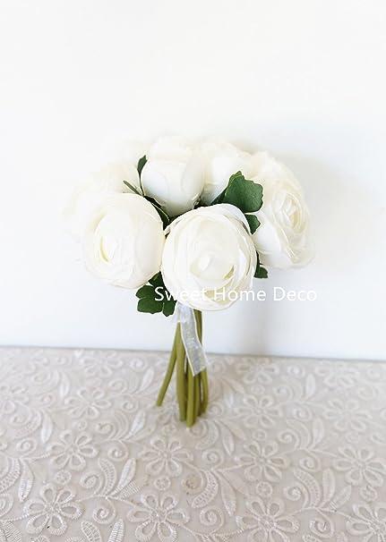 Amazon sweet home deco 9 soft silk ranunculus flower bouquet sweet home deco 9 soft silk ranunculus flower bouquet 10 stems10 mightylinksfo