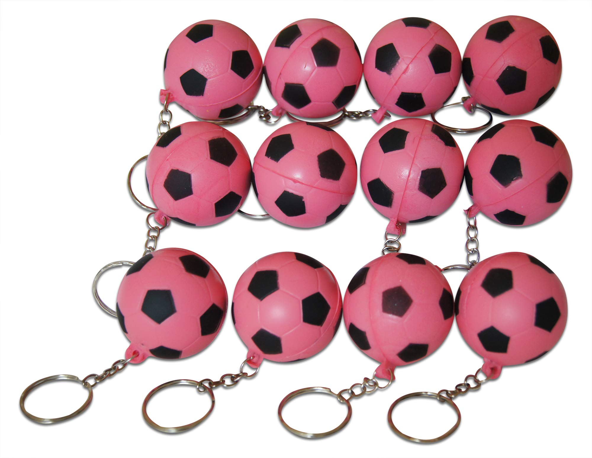 Novel Merk Pink Soccer 12-Piece Keychains for Party Favors & School Carnival Prizes