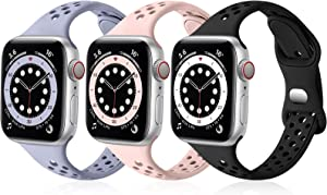 SNBLK Bands Compatible with Apple Watch Bands 38mm 40mm for Women, Breathable Slim Soft Silicone Sport Replacement Band for iWatch SE Series 6 5 4 3 2 1,Lavender Gray/Sand Pink/Black