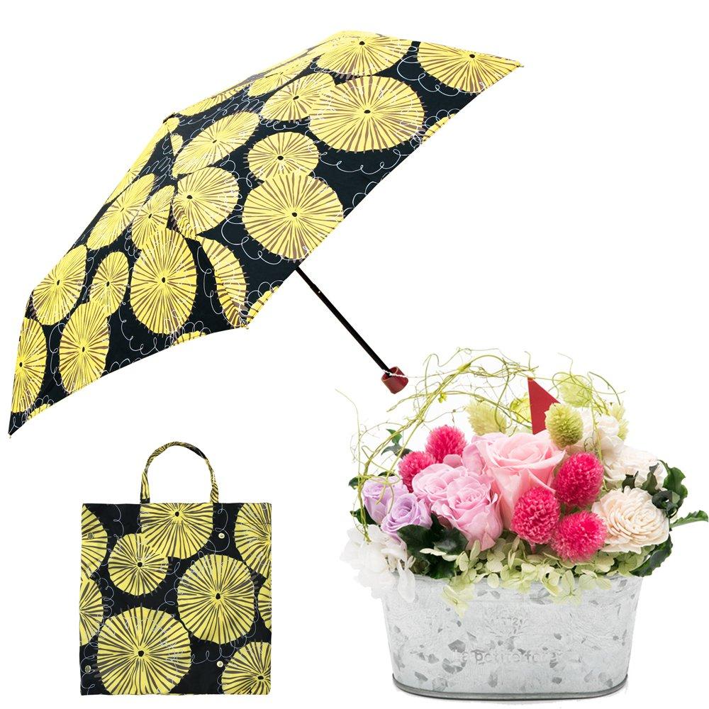 母の日ギフト プリザーブドフラワーと折り畳み傘のギフトセット B07CJXQHK9 お花:Lサイズ|ダンデライオン/クロ ダンデライオン/クロ お花:Lサイズ