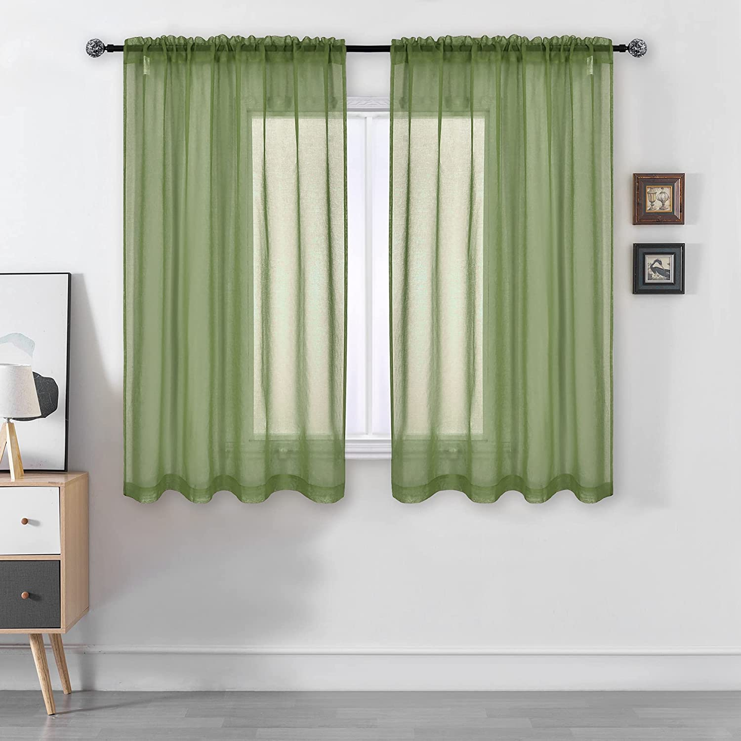 DUALIFE Sage Green Sheer Curtains 63 Inch Length,Faux Linen Semi Sheer Curtain Drapes for Living Room Bedroom Kids Room Bathroom Privacy Voile Window Treatment Panels,52 x 63 Inches,Sage Set of 2