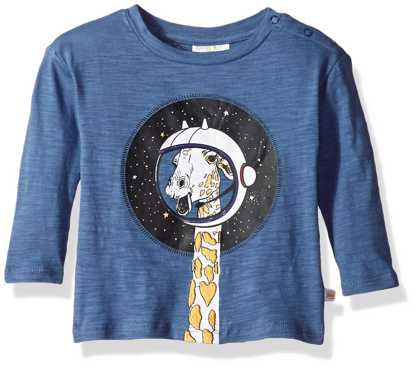 Rosie Pope Baby Boys Giraffe in Space Tee, Blue, 18M