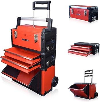 US PRO TOOLS plástico de color rojo, móvil de acero armario con ruedas para carrito para pecho 3 en 1 caja de herramientas: Amazon.es: Bricolaje y herramientas