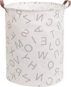 CLOCOR Collapsible Round Storage Bin/Large Storage Basket/Clothes Laundry Hamper/Toy Books Holder (Grey Alphabet)