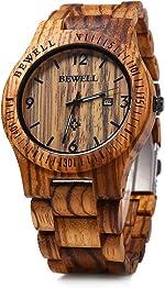 Bewell ZS-W086B Mens Wooden Watch Lightweight Date Display Analog Quartz Movement