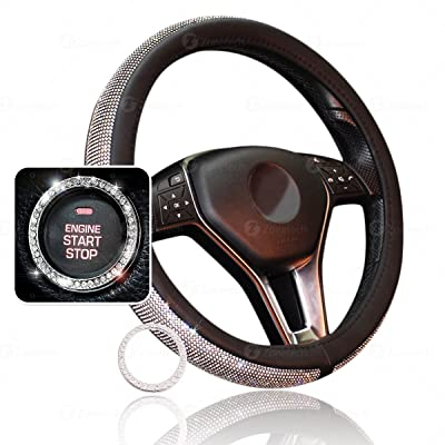 Zone Tech Shiny Bling Car Accessory Set - Premium Quality Crystal Steering Wheel Cover with PU Leather Backing & Crystal Bling Car Accessory for Auto Start Engine Ignition Button Key and Knobs: Automotive