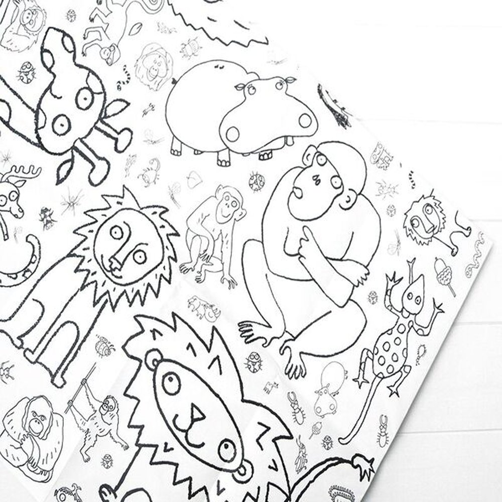 Eggnogg Colour-in Durable White Paper Tablecloth 37.5-Inch by 50-Inch, Amazing Animals, 1 Tablecloth
