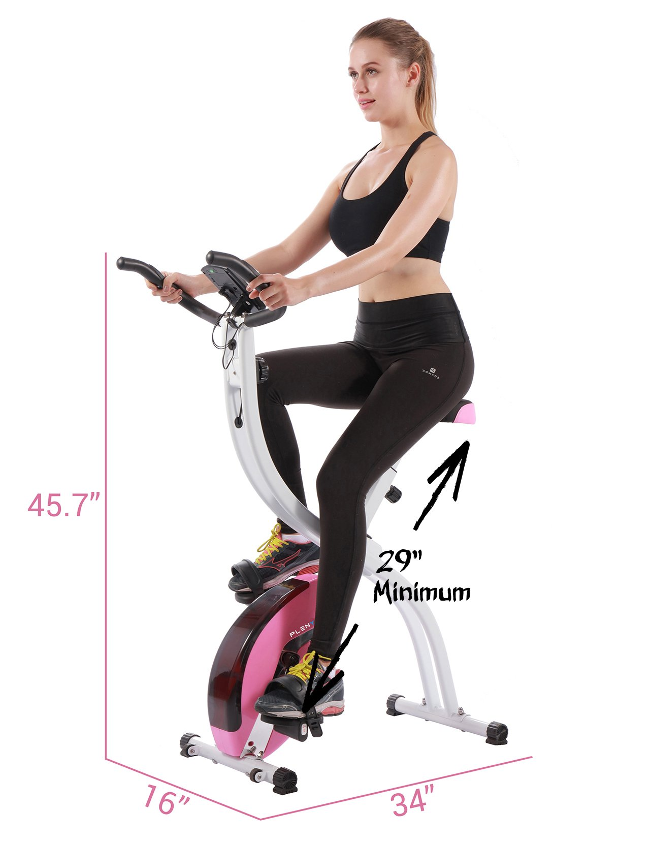 PLENY Foldable Upright Stationary Exercise Bike with 16 Level Resistance, New Exercise Monitor with Phone/Tablet Holder (Pink) by PLENY (Image #5)