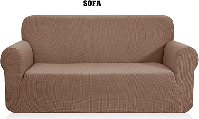 Fancy Collection Sure Fit Stretch Fabric Sofa Slipcover Sofa New #Stella (Sofa, Light Brown)