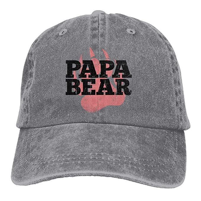 WYYCLD Papa Bear Paw Denim Hat Adjustable Unisex Funny Baseball ...
