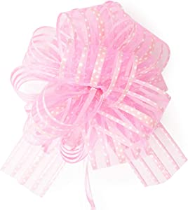 "Allgala 12-pc 6"" Large Everyday Pull Bows, Pink"