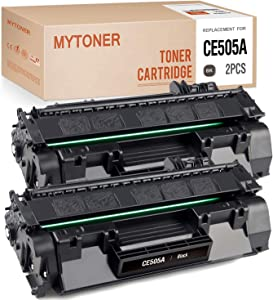 MYTONER Compatible Toner Cartridge Replacement for HP 05A CE505A 05X CE505X for Laserjet P2055dn P2035 P2035n P2055d P2055x Toner Ink (Black, 2-Pack)