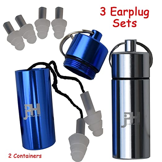 Just Pure Hut Ear Plugs - 3 Piece Set of Silicone Protection and 2 Containers - Best Noise Cancelling for Musicians, Shooting, Sleeping, Festivals, Concerts, Construction, Flying, Travel and Swimming