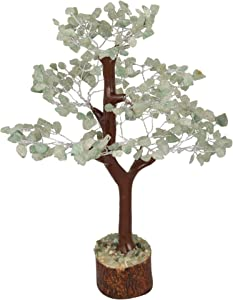 FASHIONZAADI Green Jade Feng Shui Bonsai Money Tree Natural Gemstone Trees Healing Crystals Reiki Stone Chakra Good Luck Home Office Table Décor Health Prosperity Size 10-12 inch (Silver Wire)