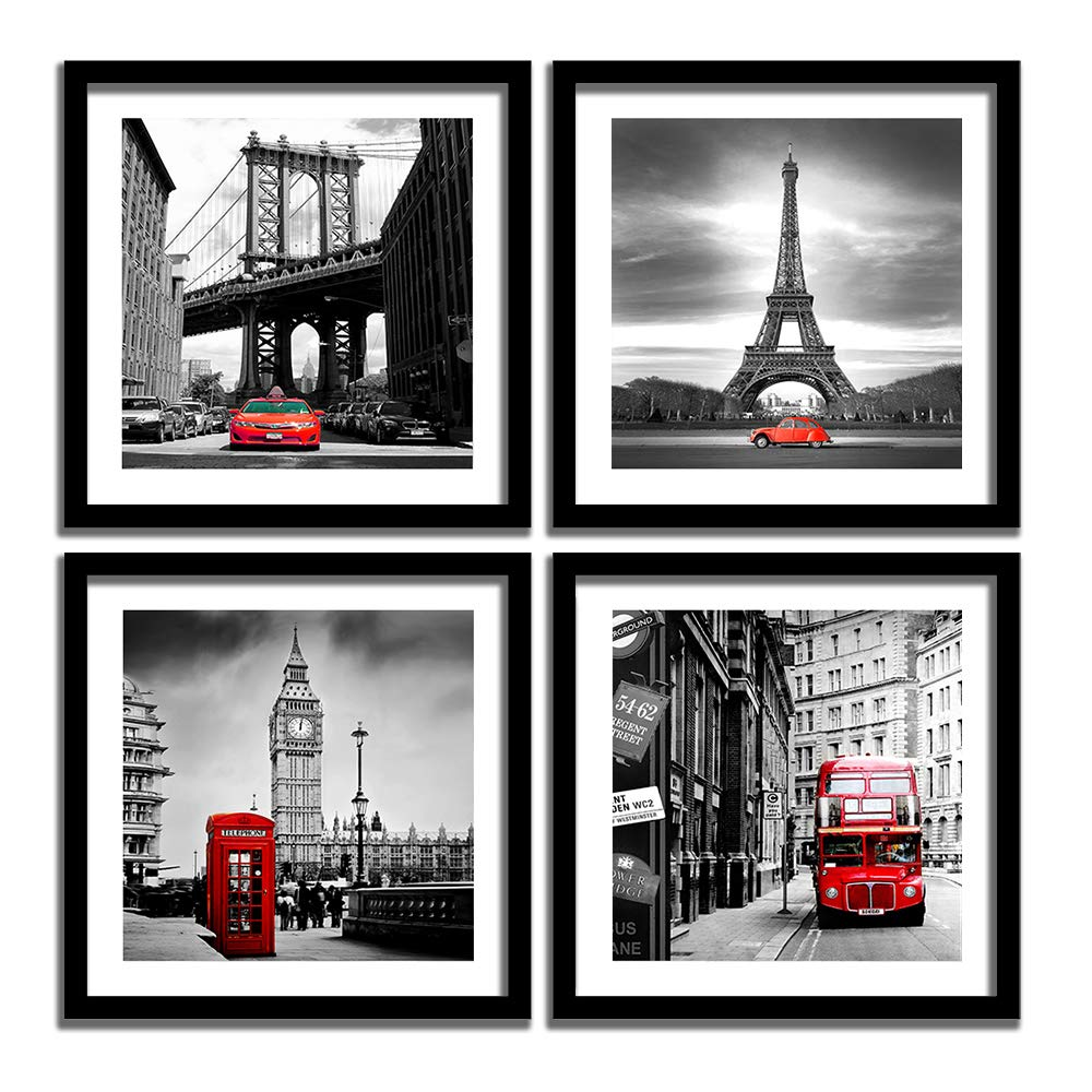 ENGLANT 4 Pieces Framed Canvas Wall Art, Black White and Red Wall Decor Landscape Poster with Eiffel Tower, Brooklyn Bridge, London Big Ben Picture for Bedroom and Bathroom