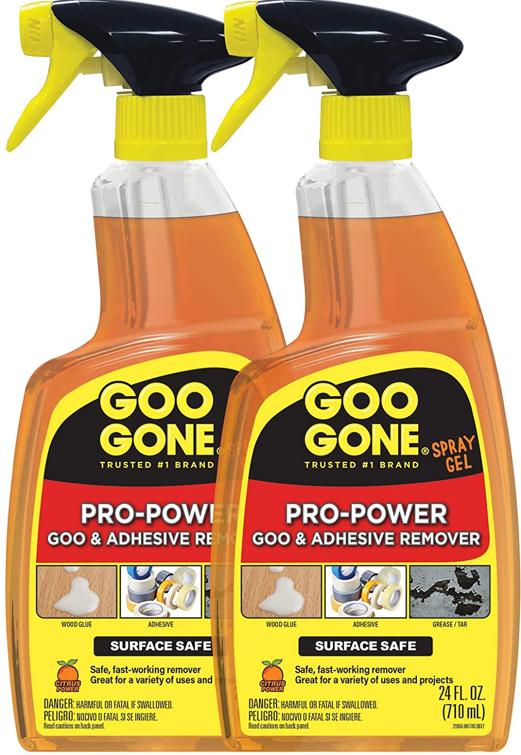 Goo Gone Pro-Power Spray Gel - 24 Ounce (2 Pack) - Surface Safe, Great Cleaner, No Harsh Odors, Removes Stickers, Can Be Used On Tools
