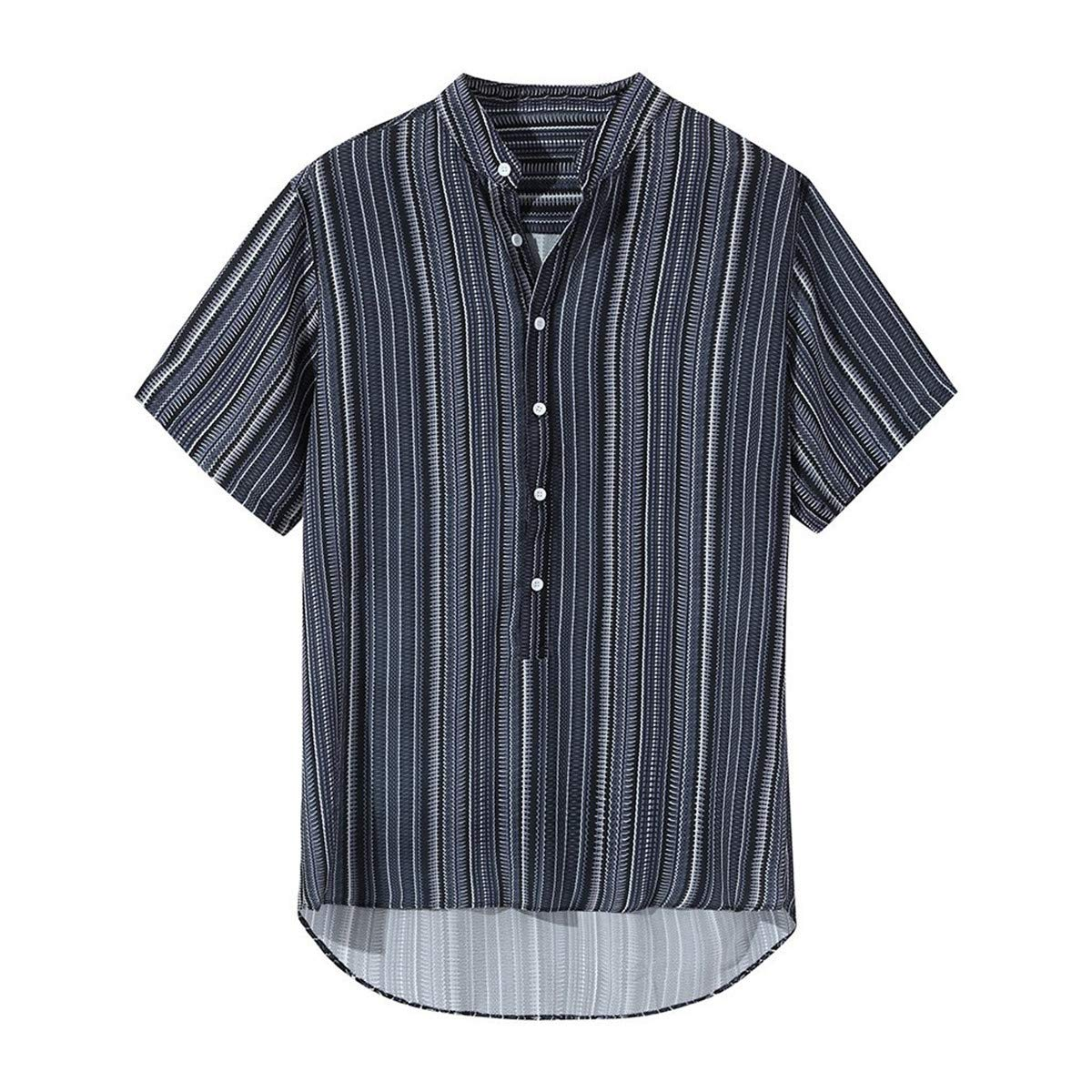 Thenxin Mens Button Down Shirt Short Sleeve Stripes Pullover Tops Regular-Fit Tee