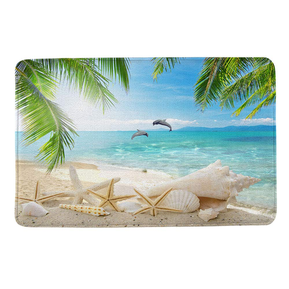 Beach Starfish Seashell Dolphin Theme Design Non Slip Bathmat